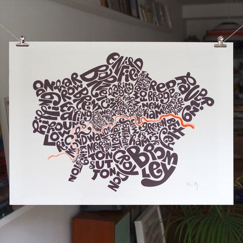 Map of London Boroughs, Ursula Hitz - CultureLabel - 1 (hung on line in interior)