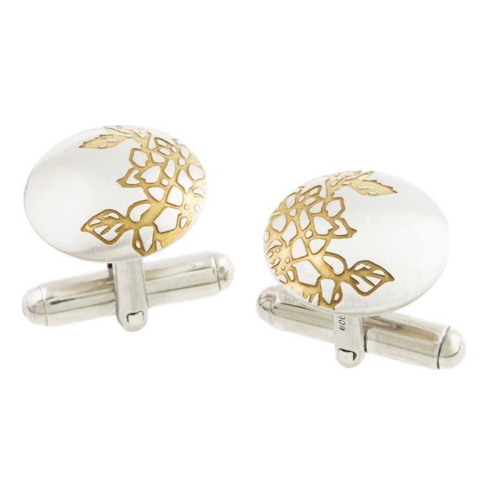 Silver and Gold Etched Carnations Cufflinks, Sally Lees - CultureLabel - 1