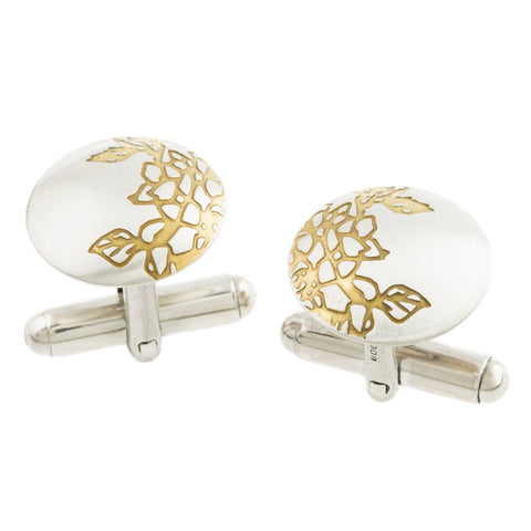 Silver and Gold Etched Carnations Cufflinks, Sally Lees - CultureLabel
