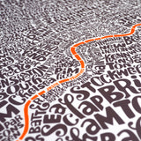 Map of Greater London neon orange/bark, Ursula Hitz - CultureLabel - 4 (crop- angled close up of river)