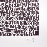 Map of Greater London neon orange/bark, Ursula Hitz - CultureLabel - 6 (signature)