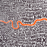 Map of Greater London neon orange/bark, Ursula Hitz - CultureLabel