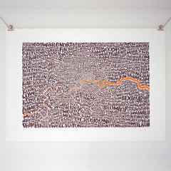 Map of Greater London neon orange/bark, Ursula Hitz