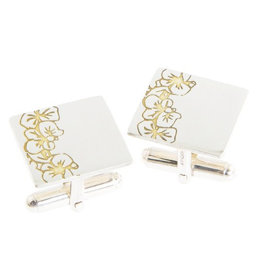 Silver and Gold Etched Orchids Cufflinks, Sally Lees - CultureLabel