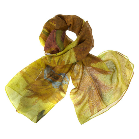 Sunflowers Georgette Silk Scarf, The National Gallery - CultureLabel