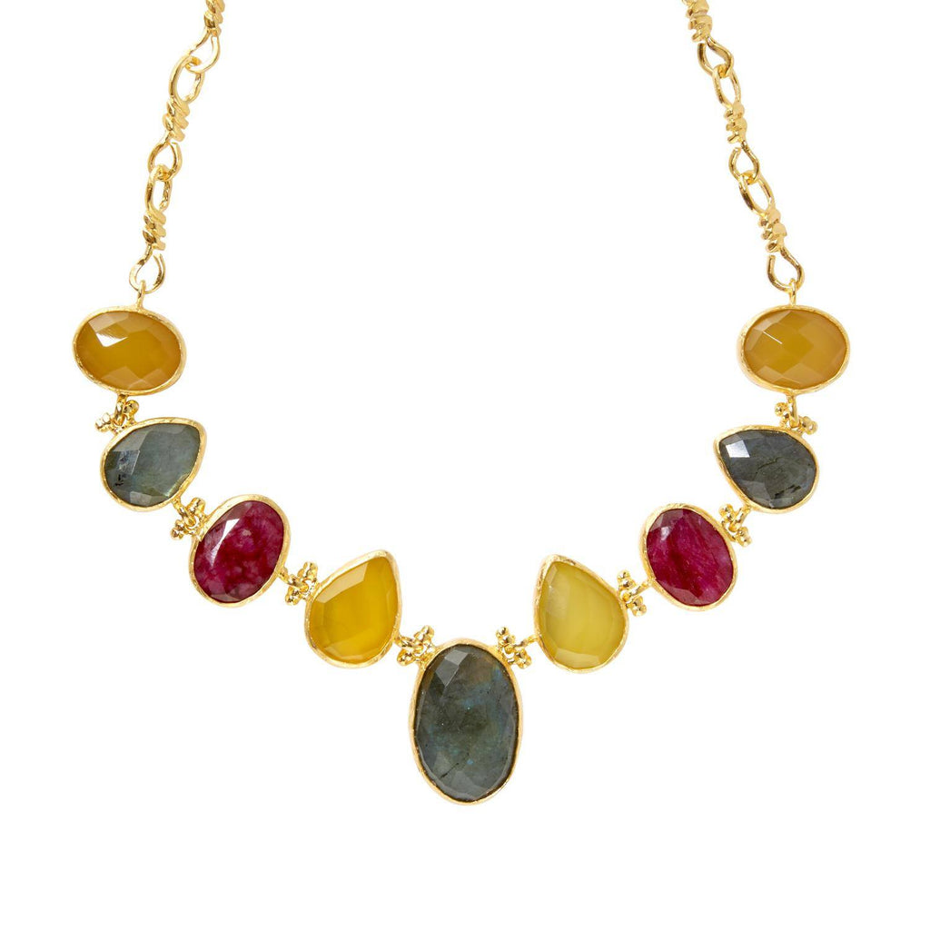 Gold Plated Nine Stone Necklace, The National Gallery - CultureLabel - 1