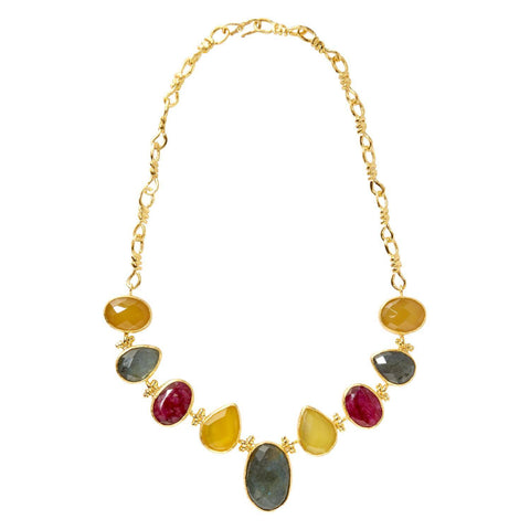 Gold Plated Nine Stone Necklace, The National Gallery Alternate View