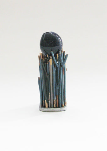 Keisan Holder with Miniature Black Bud Porcelain Vessel, Rosa Nguyen