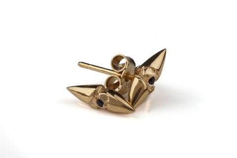 Black Sapphire Gold Thorn Earrings, Ros Millar - CultureLabel - 1