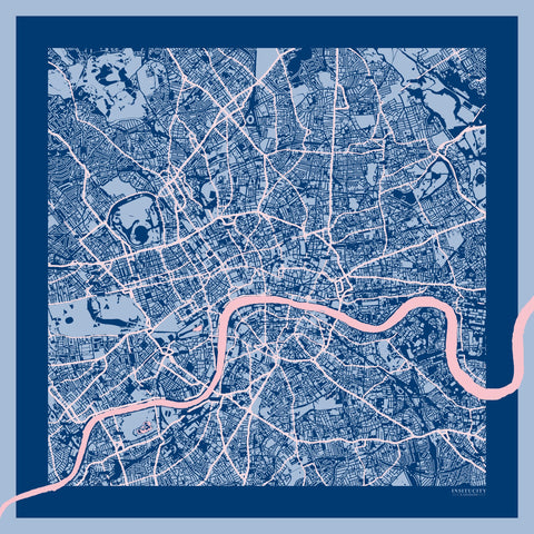 London In Blue Silk Scarf, Insitucity