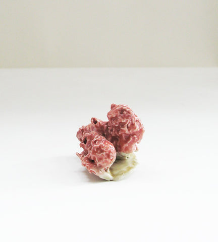 Coral Red and Celadon Porcelain Stem Holder, Rosa Nguyen