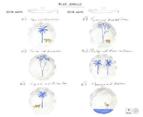 Blue Jungle Set of 6, Mira Santo Alternate View