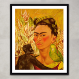 Self Portrait with Monkey and Parrot, Frida Kahlo