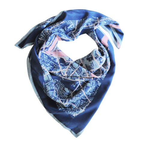 London In Blue Silk Scarf, Insitucity Alternate View