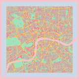 London in Acid Pink Silk Handkerchief, Insitucity - CultureLabel - 1