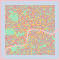 London in Acid Pink Silk Handkerchief, Insitucity