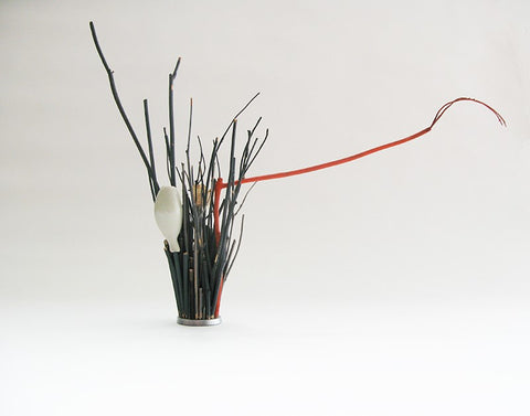 Keisan Branch Holder with Miniature Bud Porcelain Vessel, Rosa Nguyen