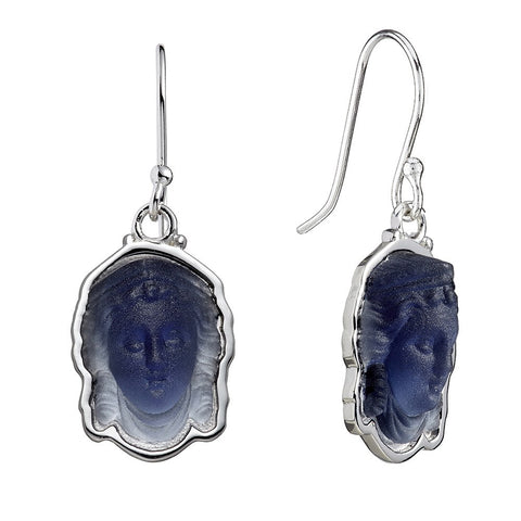 Minerva Cameo Earrings Midnight Blue - CultureLabel