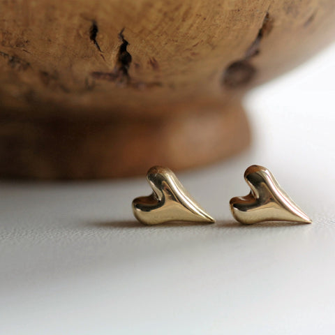 Handmade Wild at Heart Solid 9ct Gold Stud Earrings, Pretty Wild Jewellery - CultureLabel - 1