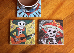 Alberto and Lucia Coaster Set, Juan is Dead Alternate View