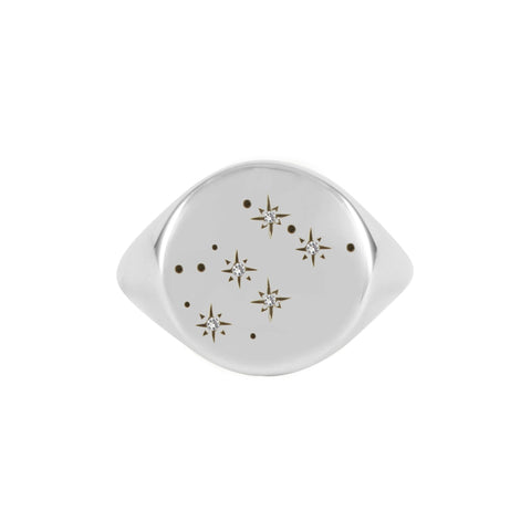 Silver Zodiac Constellation Diamond Signet Ring, No 13