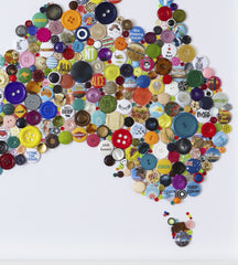 Handmade Button Map of Australia, Hello Geronimo Alternate View