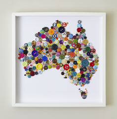Handmade Button Map of Australia, Hello Geronimo