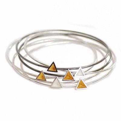 Skinny Pyramid Bangle with Gold Leaf, Stephanie Ray Alternate View