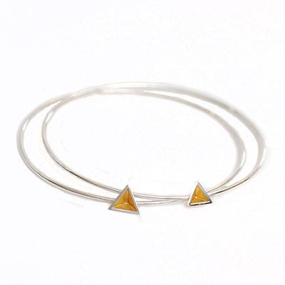 Skinny Pyramid Bangle with Gold Leaf, Stephanie Ray