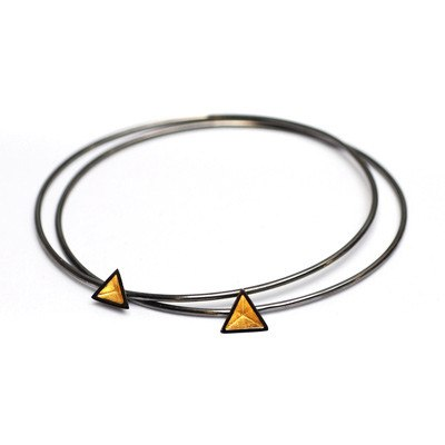 Skinny Black Rhodium Pyramid Bangle, Stephanie Ray - CultureLabel - 1 (Two Bangles)