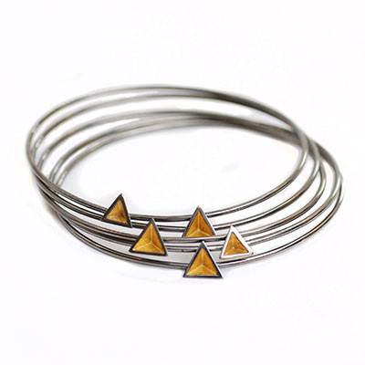 Skinny Black Rhodium Pyramid Bangle, Stephanie Ray Alternate View