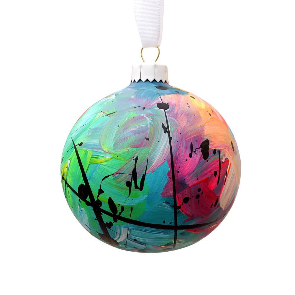 Hand Painted Multi Coloured Green Ceramic Bauble, Eat Pray Pedal - CultureLabel - 1