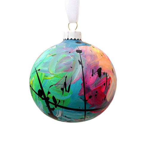 Hand Painted Multi Coloured Green Ceramic Bauble, Eat Pray Pedal