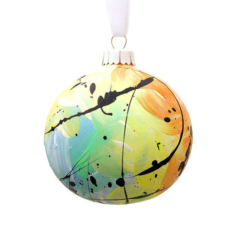 Hand Painted Multi Coloured Yellow Ceramic Bauble, Eat Pray Pedal