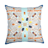 Bateau Blanc Silk and Faux Leather Cushion, Bivain