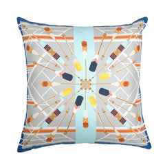 Bateau Blanc Silk and Faux Leather Cushion, Bivain Alternate View