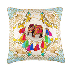 Agra Cloud Large Silk Cushion, Bivain Alternate View