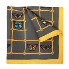 Butterflies & Ladders Silk Pocket Square, Bivain