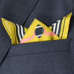 Ball & Chain Silk Pocket Square, Bivain Alternate View