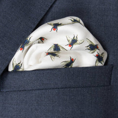 Fly Silk Pocket Square, Bivain Alternate View