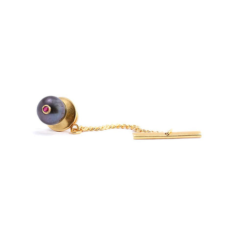 Peacock Pearl & Ruby Tie Pin, Lee Renée - CultureLabel - 1