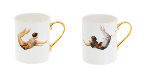 Trapeze Boy and Girl Bone China Mugs Set of Two, Melody Rose