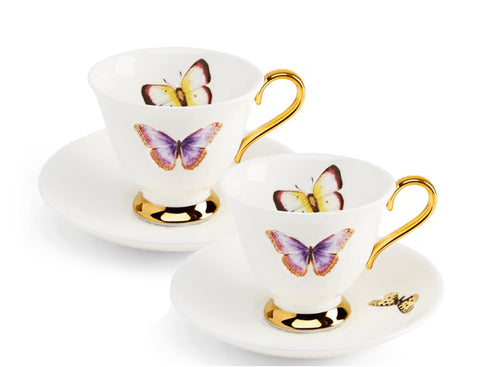 Butterflies Teacup and Saucer Set for Two, Melody Rose - CultureLabel - 1