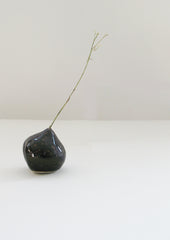 Small Porcelain Black Bulb Vessel for a Grass, Rosa Nguyen