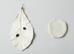 Wall leaves - Giant White Leaf and Porcelain Droplets, Rosa Nguyen Alternate View
