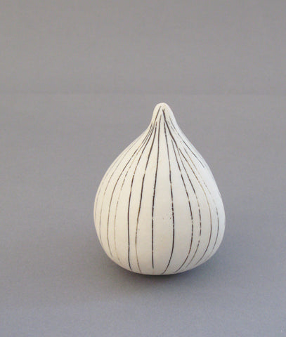 White Porcelain Sgraffito Fig Form, Rosa Nguyen