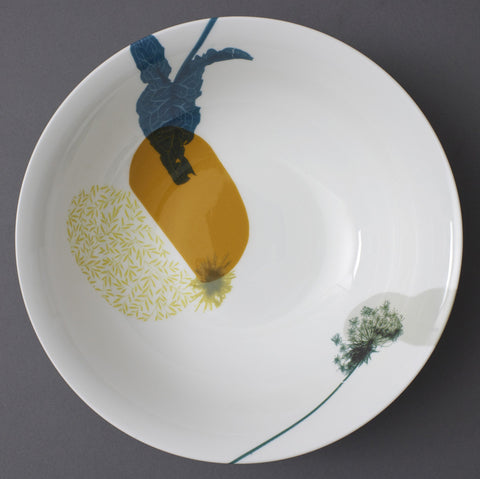 Lords and Ladies Leaves in Marigold China Bowl, Chimera Collection - CultureLabel