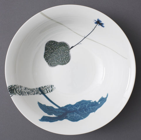 Lords and Ladies Leaves in Dark Willow China Bowl, Chimera Collection - CultureLabel
