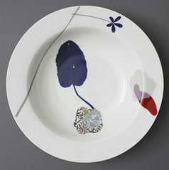 Cobalt Plantain Leaf and Cinquefoil China Serving Dish