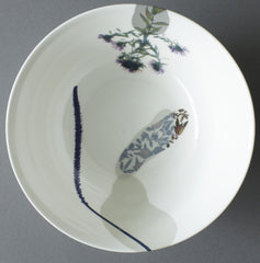 Aster and Plantain Grass on Bed of Willow China Serving Bowl